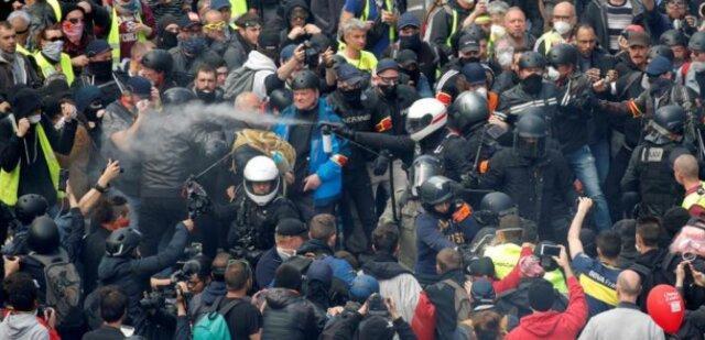 سی امین هفته از اعتراضات جلیقه زرد ها با درگیری پلیس